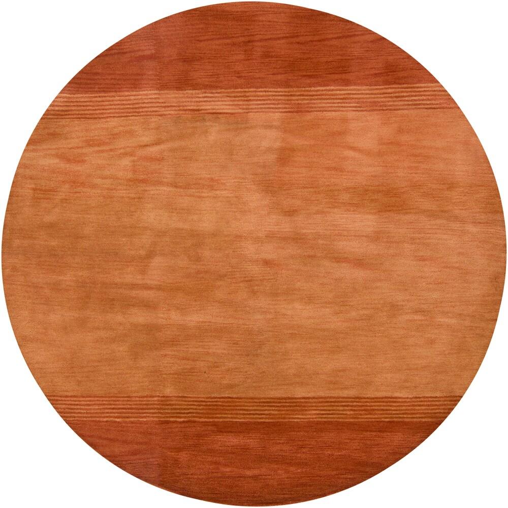 Hand-tufted Mandara Orange Wool Rug (7'9 Round)