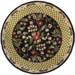 Contemporary Hand-Tufted Mandara Black Floral Wool Rug (7'9