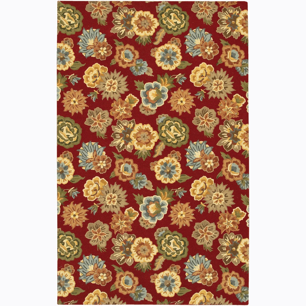 "Hand-tufted Transitional Mandara Red Floral Wool Area Rug (5' x 7'6"")"