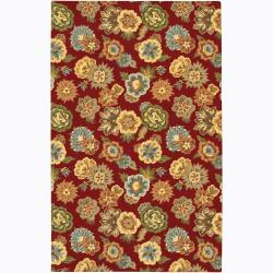 Hand-tufted Transitional Mandara Red Floral Wool Area Rug (5' x 7'6