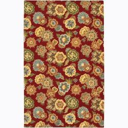 Large Hand-Tufted Mandara Red Floral Wool Rug (7'9