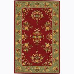 Hand-tufted Mandara Red Floral Wool Rug (5' x 7'6)