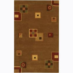 Hand-Tufted Mandara Brown Wool Area Rug (7'9 x 10'6)