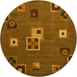 Hand-tufted Mandara Brown Wool Rug (7'9 Round)