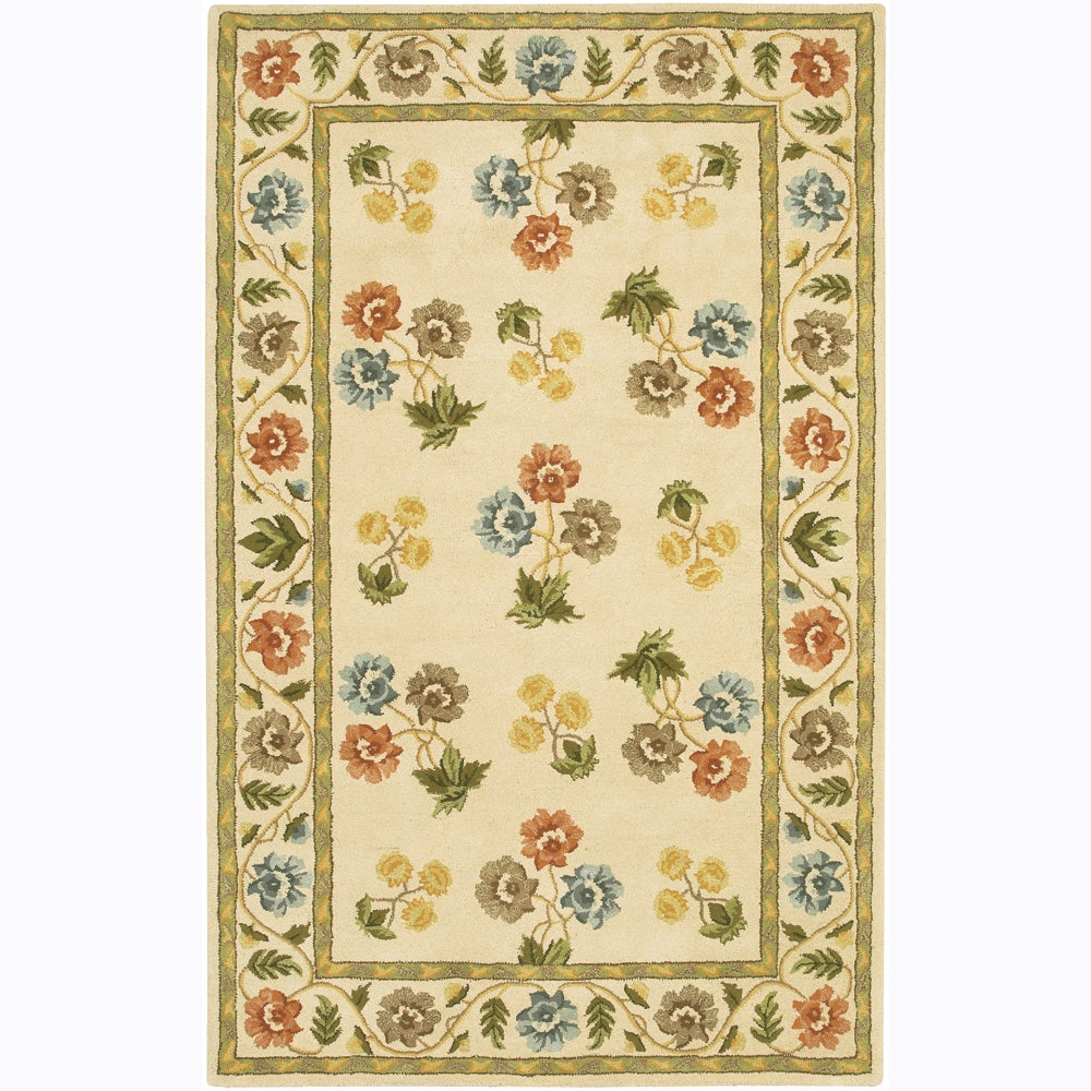 Hand-tufted Mandara Ivory Floral Wool Rug (7'9 x 10'6)