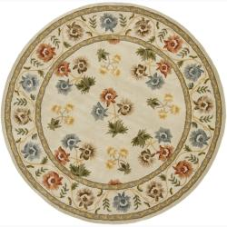 """Hand-Tufted Mandara Ivory Floral Wool Area Rug (7'9"""" Round)"""