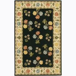 Hand-Tufted Mandara Black/Ivory Floral Wool Rug (5' x 7'6)