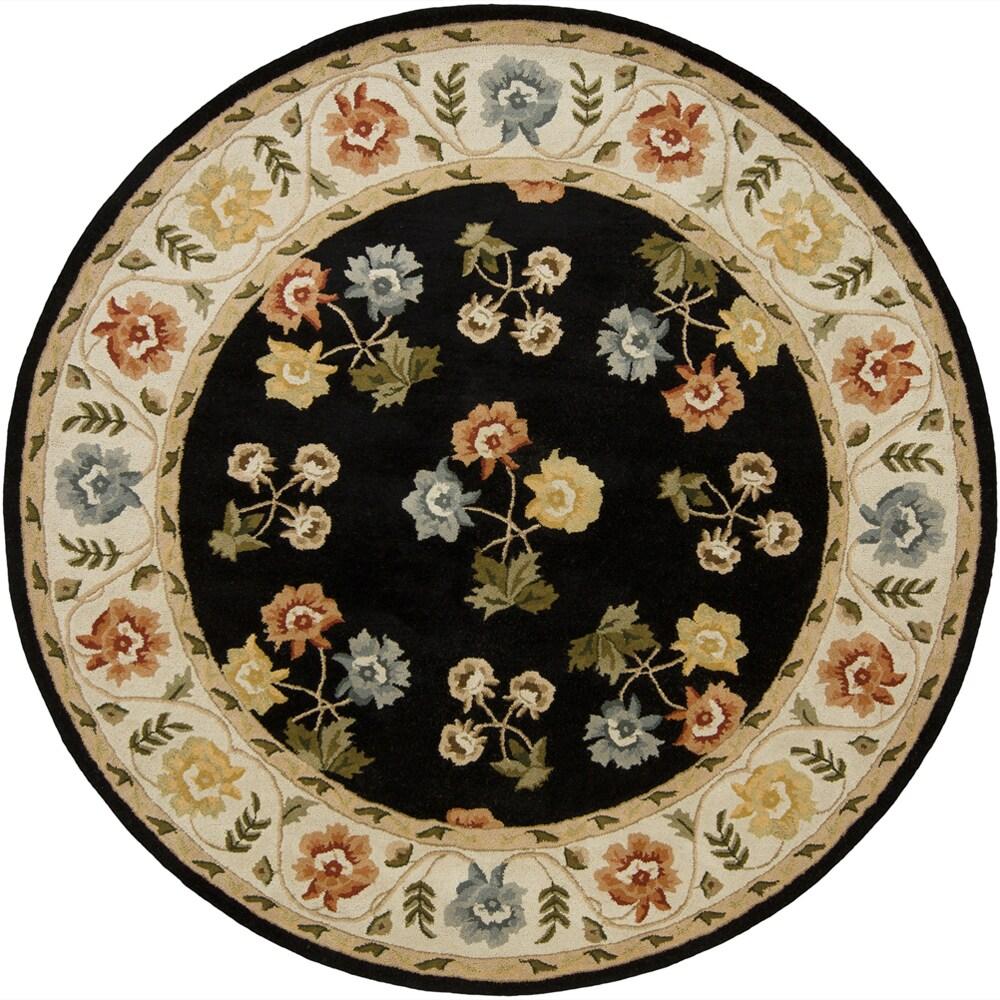 "Hand-Tufted Mandara Black Floral Wool Area Rug (7'9"" Round)"