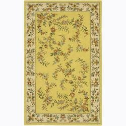 Hand-Tufted Mandara Floral Gold Wool Rug (7'9