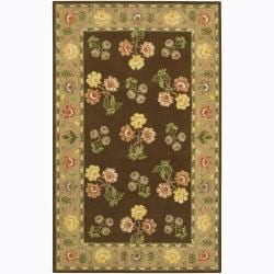 Hand-tufted Mandara Brown Floral Wool Rug (2' x 3')