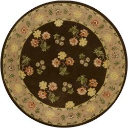 Hand-Tufted Mandara Brown Floral Transitional Wool Rug (7'9 Round)