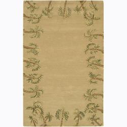 Hand-tufted Mandara Palmtree Wool Rug (5' x 7'6)