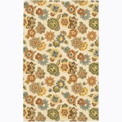 "Hand-Tufted Mandara Floral Ivory Wool Area Rug (5' x 7'6"")"