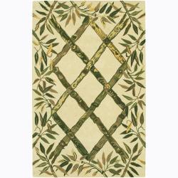 Hand-tufted Mandara Rayon from Bamboo Pattern Wool Rug (2' x 3')