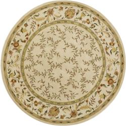 Hand-tufted Mandara Floral Ivory Wool Rug (7'9 Round)