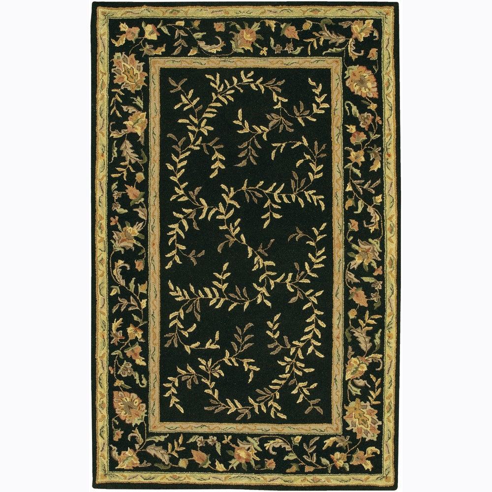 "Transitional Hand-Tufted Mandara Floral Black Wool Rug (7'9"" x 10'6"")"