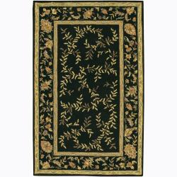 Transitional Hand-Tufted Mandara Floral Black Wool Rug (7'9