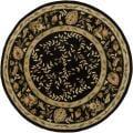 Indian Hand-Tufted Mandara Floral Black Wool Rug (7'9