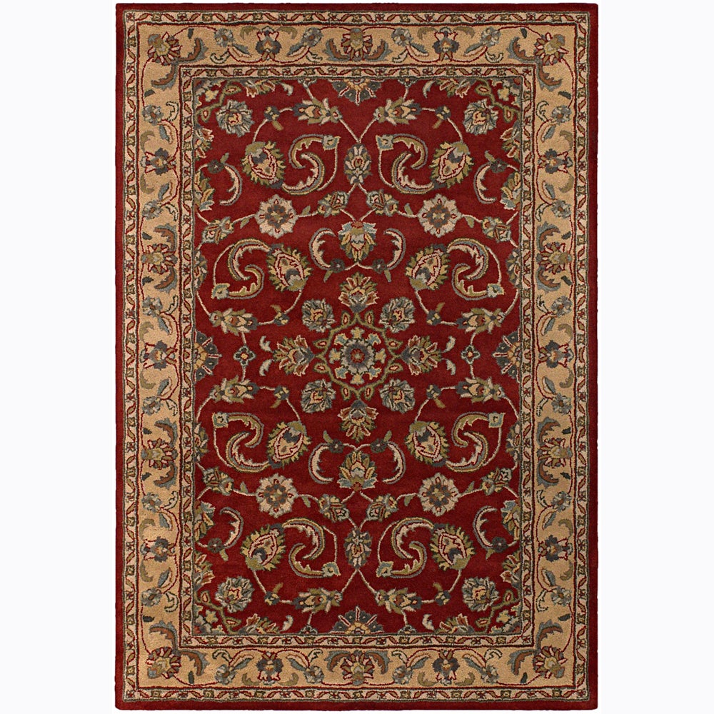 Hand-tufted Mandara Red Floral Wool Area Rug (7'9 x 10'6)