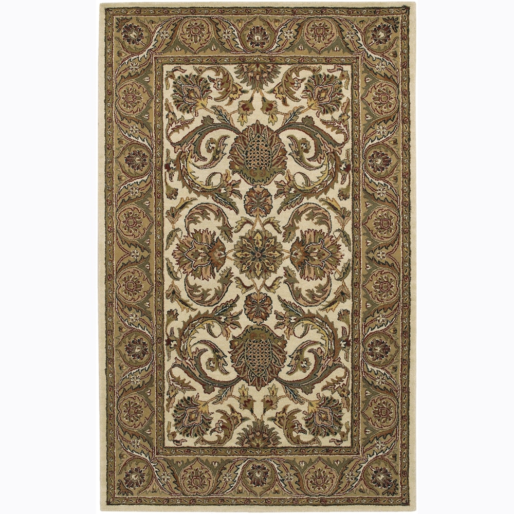"Traditional Hand-Tufted Mandara Ivory Floral Wool Rug (7'9"" x 10'6"")"