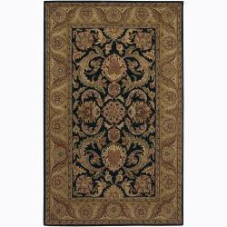 Hand-Tufted Mandara Black Floral Traditional Wool Rug (7'9 x 10'6)