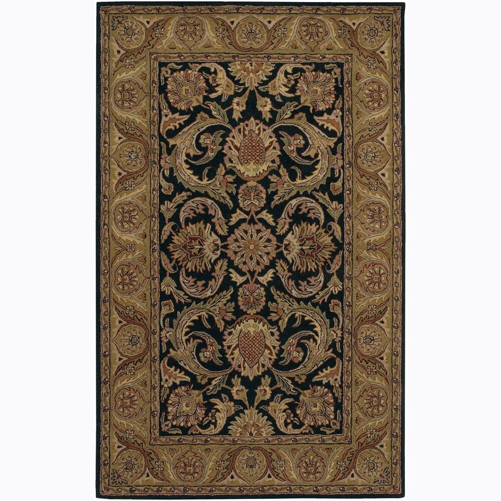 "Modern Hand-Tufted Mandara Black Floral Wool Rug (7'9"" Round)"