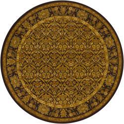 Hand-Tufted Mandara Brown Floral Oriental-Style Wool Rug (7'9 Round)