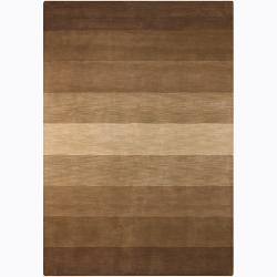 Hand-tufted Mandara Brown Stripes Wool Area Rug (5' x 7'6)