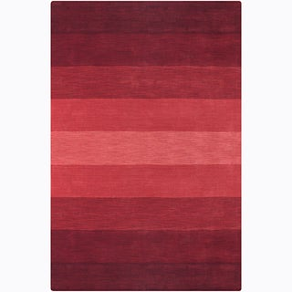 Hand-tufted Mandara Red Stripes Wool Rug (5' x 7'6)