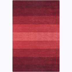 Hand-tufted Mandara Red Stripes Wool Rug (7'9 x 10'6)