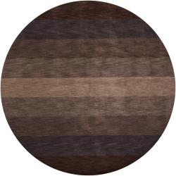 Hand-tufted Mandara Brown Stripes Wool Rug (7'9 Round)