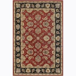 "Hand-tufted Mandara Red Floral Wool Rug with Black Border (5' x 7'6"")"