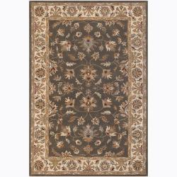 Hand-Tufted Mandara Floral Brown Wool Rug (7'9