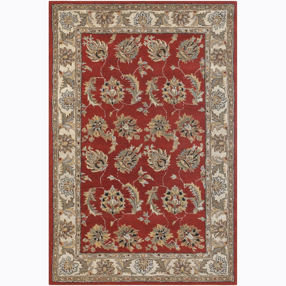 "Hand-tufted Traditional Mandara Red Floral Premium-Quality Wool Area Rug (5' x 7'6"")"