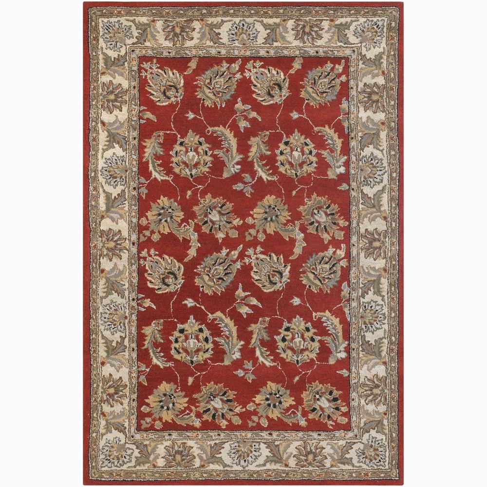 "Hand-Tufted Rectangular Mandara Red Floral Wool Rug (7'9"" x 10'6"")"