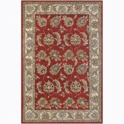 Hand-Tufted Rectangular Mandara Red Floral Wool Rug (7'9