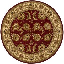 Hand-Tufted Mandara Red/Ivory/Gold Floral Wool Rug (7'9 Round)