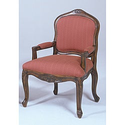 French Provencial Burgundy Textured Fabric Wood Frame Chair