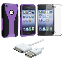 Purple Case/ Screen Protector/ USB Cable for Apple iPhone 3GS