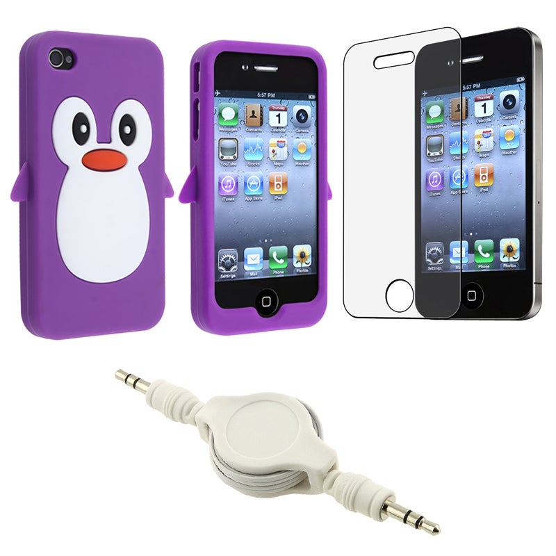 Purple Penguin Case/ Screen Protector/ Audio Cable for Apple iPhone 4S