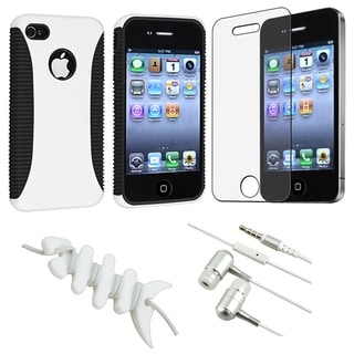White Hybrid Case/ Screen Protector/ Headset/ Wrap for Apple iPhone 4S