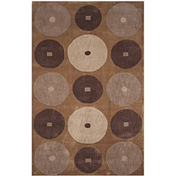 Dynasty Hand-tufted Brown/ Ivory Rug (2'6 x 8'0)