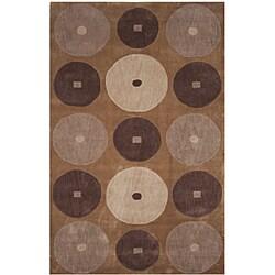 "Dynasty Hand-Tufted Brown/Ivory Polyacrylic Rug (5'0"" x 7'9"")"