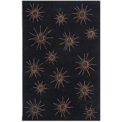 Dynasty Hand-tufted Black/ Tan Rug (7'9 x 10'9)