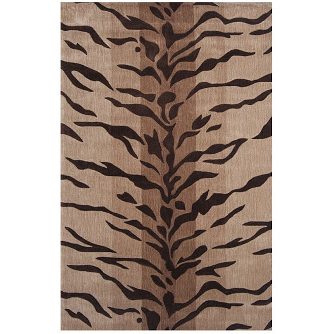 Dynasty Hand-tufted Beige/ Brown Rug (5'0 x 7'9)