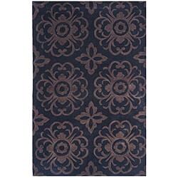 Dynasty Hand-Tufted Black/Brown Geometric Rug (3'6 x 5'6)