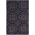 "Dynasty Traditional Hand-Tufted Black/Brown Rug (5' x 7'9"")"
