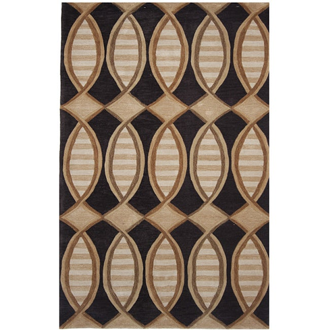 Dynasty Hand-tufted Black/ Brown Rug (2'6 x 8'0)