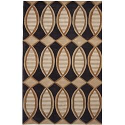 Dynasty Hand-tufted Black/ Brown Rug (2'6 x 8'0)