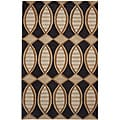 "Dynasty Hand-Tufted Black/Brown Area Rug (7'9""x10'9"")"